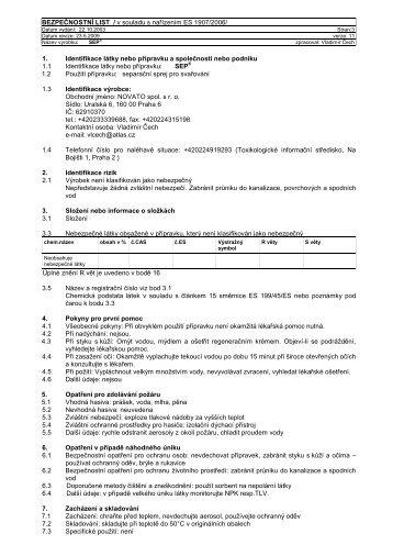 BEZPEČNOSTNÍ LIST / v souladu s nařízením ES 1907 ... - Novato