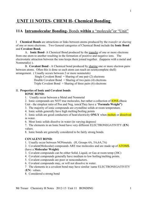 UNIT 11 NOTES H Chem Bond pdf - Fcserver nvnet org