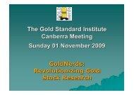 Gold Standard Institute Conference: GoldNerds Presentation