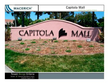 Capitola Mall General information Criteria Manual - Macerich