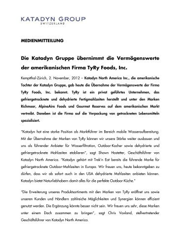 121102 MI Katadyn Group Aquisition Ty Ry ... - Emergency Food