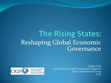 The Rising States: Reshaping Global Economic Governance - acuns