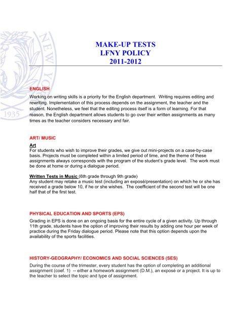 MAKE-UP TESTS LFNY POLICY 2011-2012