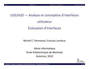 Évaluation d'interfaces - Cours - École Polytechnique de Montréal