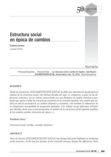 Estructura social en época de cambios - Cáritas Española