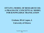 OTTAWA MODEL OF RESEARCH USE - ICEBeRG - GReBECI