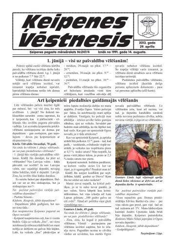 """Laikraksts """"Ķeipenes Vēstnesis"""" - Ogres novads"""