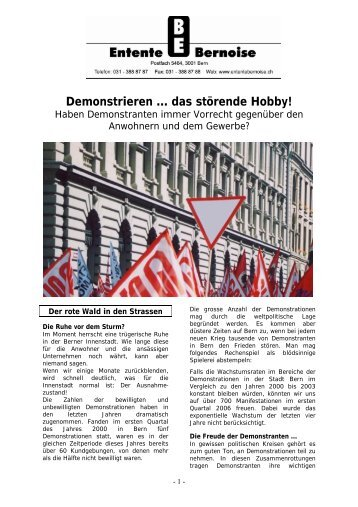 Demonstrieren … das störende Hobby! - Entente bernoise