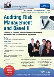 Auditing Risk Management and Basel II - MIS Training