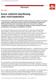 Eosin vielleicht überflüssig, aber nicht bedenklich - Werner Sellmer