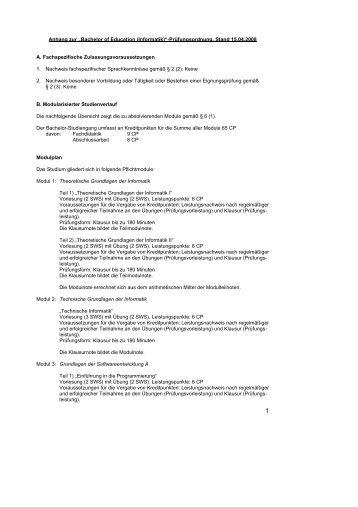 "Anhang zur ""Bachelor of Education (Informatik)""-Prüfungsordnung ..."