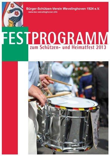 Festprogramm zum Schützenfest 2013 - bsv-wevelinghoven