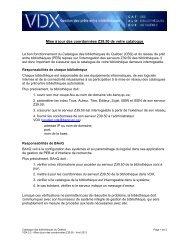 Mise à jour des coordonnées Z39 - Catalogue des bibliothèques du ...