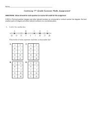 Incoming 7th Grade Summer Math Assignment - is34.org