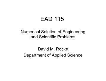 Lecture 5—Solutions of Linear Equations - David Rocke