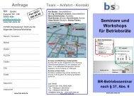 Anfrage Seminare/Workshops für Betriebsräte nach § 37, Abs. 6 ...