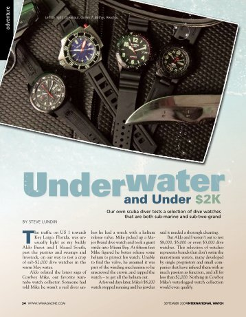 Scuba diving and watches - Steve Lundin