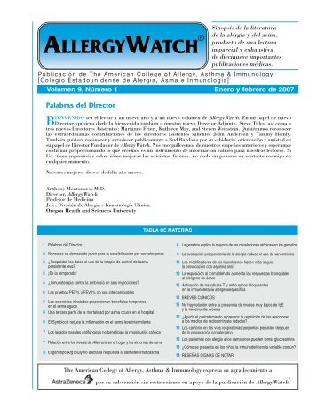 allergywatch - American College of Allergy, Asthma and Immunology