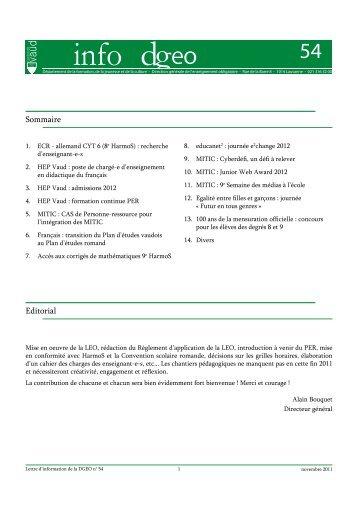 Sommaire Editorial - Telechargement.vd.ch - Canton de Vaud