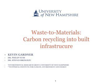 Waste-to-Materials: Carbon recycling into built infrastrucure