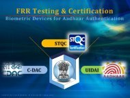 FRR Testing and Certification: First Workshop Presentation ... - STQC