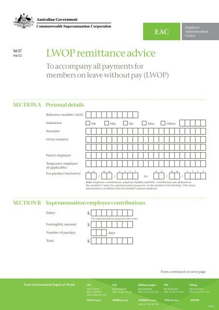 LWOP remittance advice - EAC - CSC