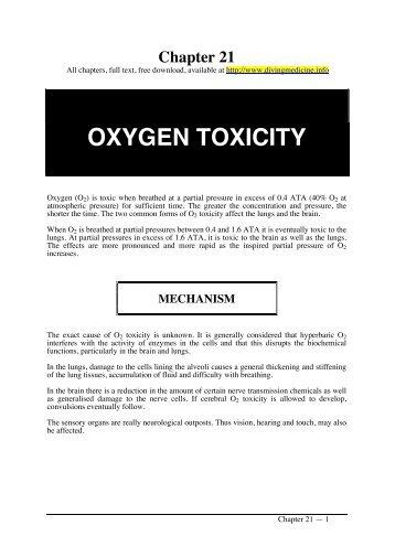 OXYGEN TOXICITY - Diving Medicine for SCUBA Divers