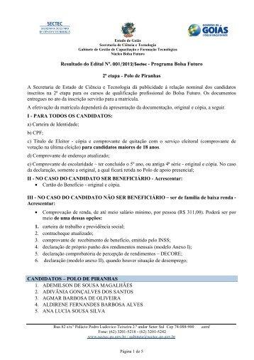 Classificados Edital 2 Piranhas - Secretaria de Ciência e Tecnologia ...