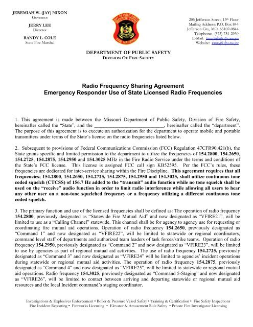 Agreement and Application - Missouri Division of Fire Safety