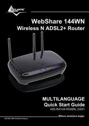 WebShare 144WN Wireless N ADSL2+ Router ... - Atlantis Land
