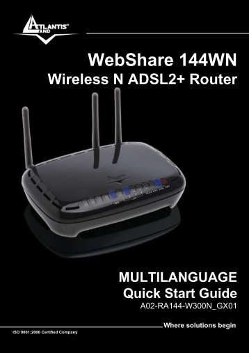 WebShare 144WN Wireless N ADSL2+ Router ... - Atlantis Land