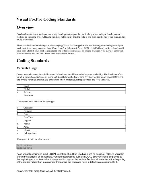 Visual FoxPro Coding Standards Overview Coding     - Craig