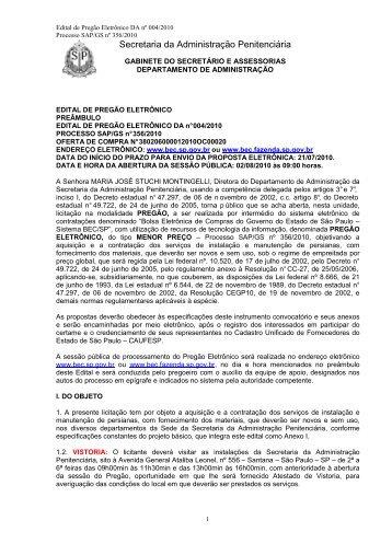 Edital Prg.El DA 004 10 persianas - SAP - Governo do Estado de ...