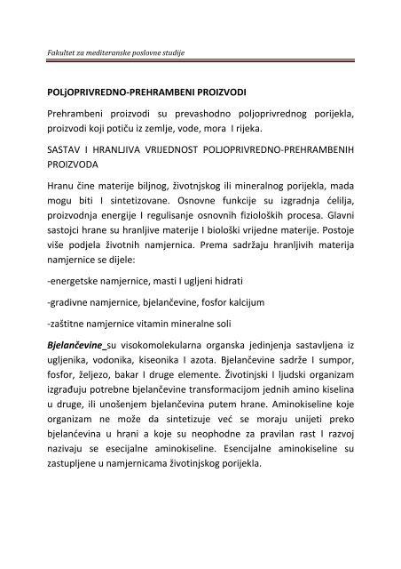 POLjOPRIVREDNO-PREHRAMBENI PROIZVODI Prehrambeni ...
