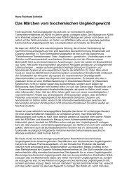 Das Märchen vom biochemischen Ungleichgewicht - ADS-Kritik