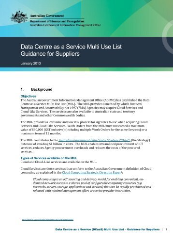 Data Centre as a Service (DCaaS) Multi Use List