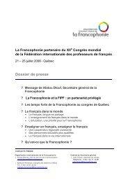 Congrès FIPF - Organisation internationale de la Francophonie
