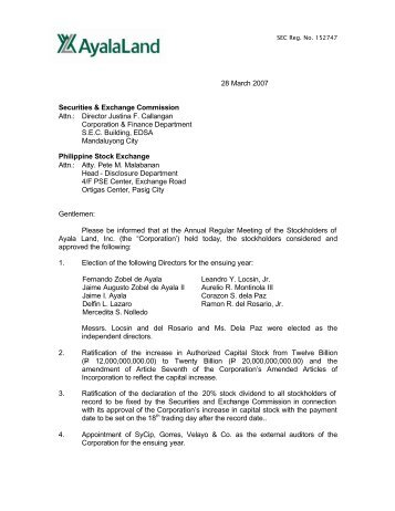 28 March 2007 Securities & Exchange Commission ... - Ayala Land