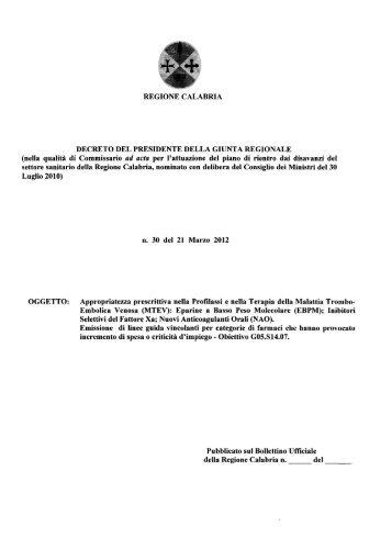 Eparine a Basso Peso Molecolare - Regione Calabria