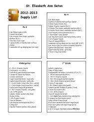 2012-2013 School Supply List - St. Elizabeth Ann Seton Catholic ...