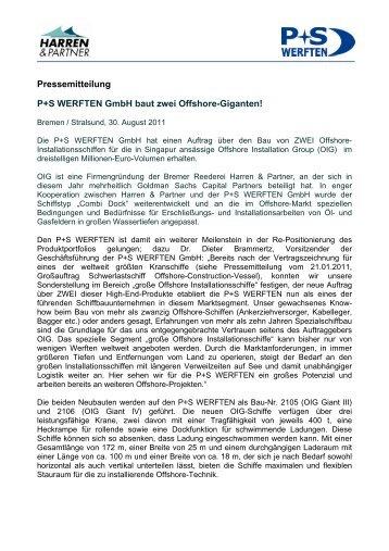Pressemitteilung P+S WERFTEN GmbH baut ... - Harren & Partner