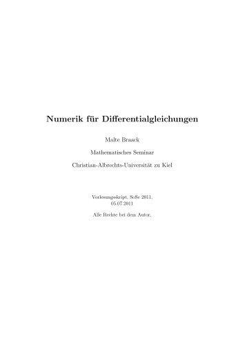 Numerik für Differentialgleichungen - Christian-Albrechts-Universität ...