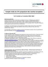 Compte rendu du 27e symposium des coaches ... - Swiss Tennis