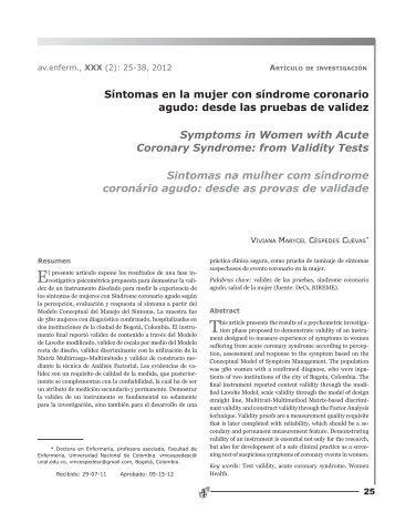 Síntomas en la mujer con síndrome coronario agudo - Facultad de ...