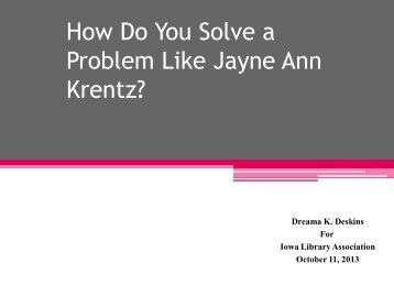 How Do You Solve a Problem Like Jayne Ann ... - DKD Consulting