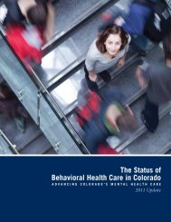 The Status of Behavioral Health Care in Colorado - 2011 Update