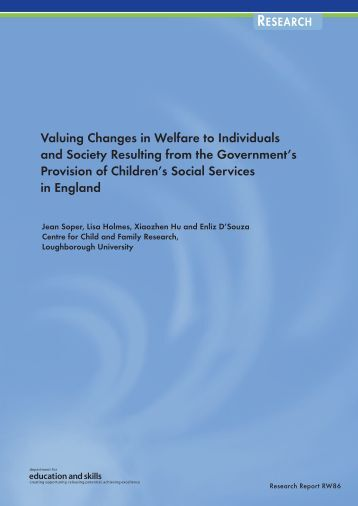 Valuing Changes in Welfare to Individuals and Society Resulting ...