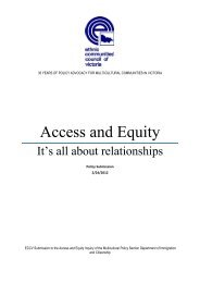 Access and Equity - Ethnic Communities Council of Victoria