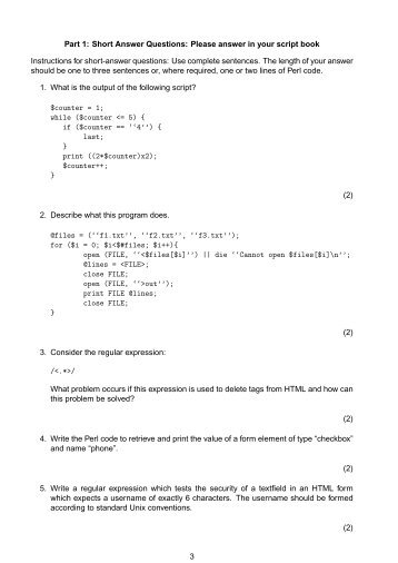 Part 1: Short Answer Questions: Please answer in your script book ...
