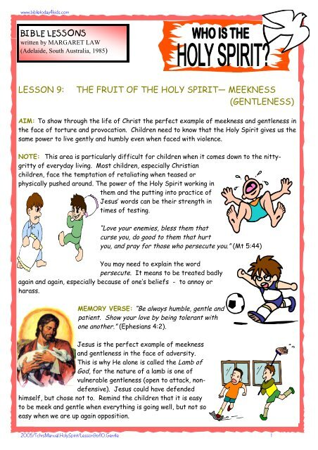 Lesson 9: Fruit of the Holy Spirit - Free Bible Lessons - Home